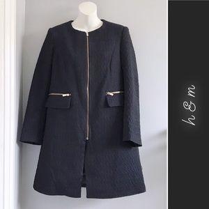 H&M Collarless Textured Coat Navy Black • 6